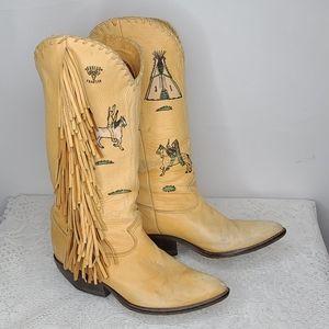 Vintage Zodiac fringe leather teepee horses boots